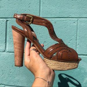Prada SZ 7.5 Tan Leather Platform Heels Shoes